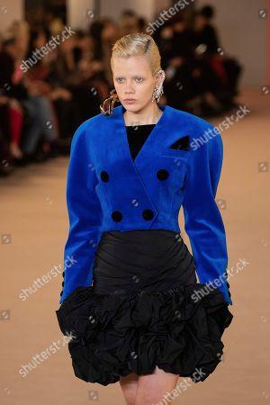 Marjan Jonkman wears a creation for the Balmain fashion collection during Women's fashion week Fall/Winter 2020/21 presented in Paris