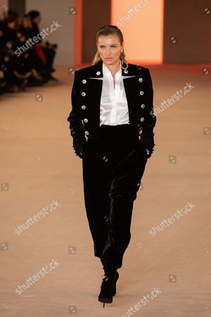 Esther Canadas wears a creation for the Balmain fashion collection during Women's fashion week Fall/Winter 2020/21 presented in Paris
