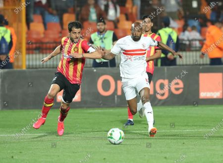ES Tunis player Khelil Chammam (L) in action against Zamalek player Shikabala (R) during the CAF Champions League quarterfinal, first leg, soccer match between Zamalek and ES Tunis at Cairo Stadium in Cairo, Egypt, 28 February  2020.