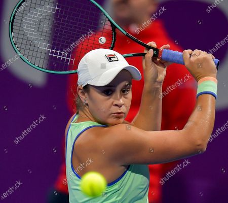 Ashleigh Barty of Australia  in action during her Semi final match against Petra Kvitova of Czech Republic at the WTA Qatar Ladies Open tennis tournament in Doha, Qatar, 28 February 2020.