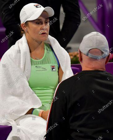 Ashleigh Barty of Australia  in react during her Semi final match against Petra Kvitova of Czech Republic at the WTA Qatar Ladies Open tennis tournament in Doha, Qatar, 28 February 2020.
