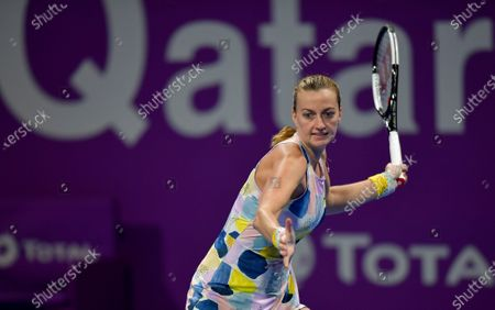 Petra Kvitova of Czech Republic in action during her Semi final match against Ashleigh Barty of Australia   at the WTA Qatar Ladies Open tennis tournament in Doha, Qatar, 28 February 2020.