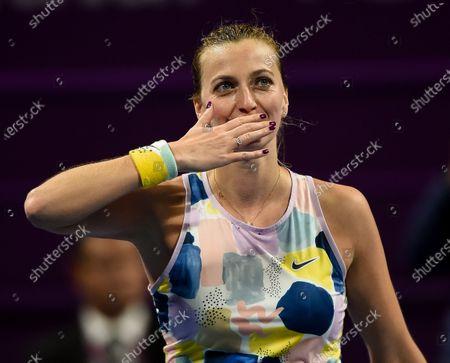 Stock Picture of Petra Kvitova of Czech Republic celebrates winning her Semi final match against Ashleigh Barty of Australia  at the WTA Qatar Ladies Open  tennis tournament in Doha, Qatar, 28 February 2020.