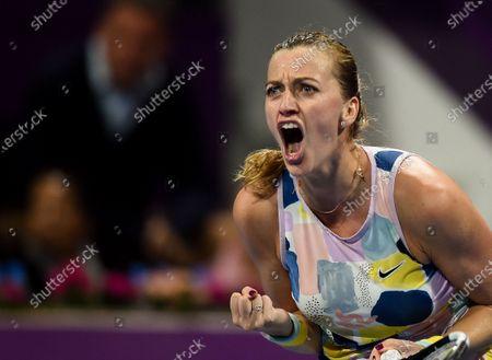 Stock Photo of Petra Kvitova of Czech Republic celebrates winning her Semi final match against Ashleigh Barty of Australia  at the WTA Qatar Ladies Open  tennis tournament in Doha, Qatar, 28 February 2020.