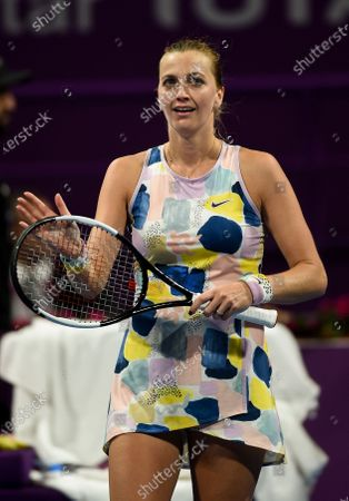 Petra Kvitova of Czech Republic celebrates winning her Semi final match against Ashleigh Barty of Australia  at the WTA Qatar Ladies Open  tennis tournament in Doha, Qatar, 28 February 2020.