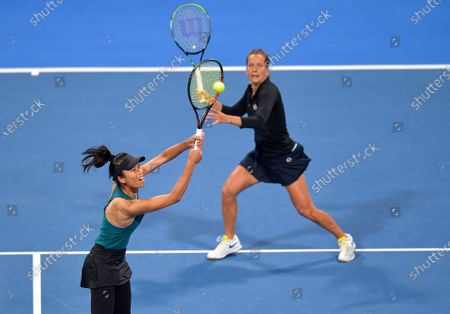 Su-Wei Hsieh  (L) of Taiwan and Barbora Strycova (R) of Czech Republic  in action during her XDoubles Final match againstGabriela Dabrowski of Canada and Jelena Ostapenko of Latvia at the WTA Qatar Ladies Open tennis tournament in Doha, Qatar, 28 February 2020.