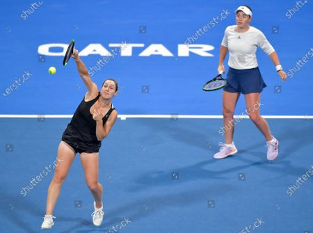 Gabriela Dabrowski (L) of Canada and Jelena Ostapenko (R) of Latvia  in action during her Doubles Final match against Su-Wei Hsieh of Taiwan and Barbora Strycova of Czech Republic  at the WTA Qatar Ladies Open tennis tournament in Doha, Qatar, 28 February 2020.