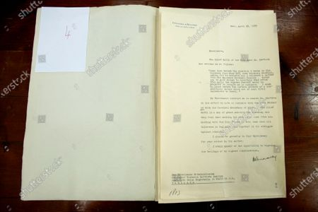 Stock Photo of Request for an audience with the Chief Rabbi of the Holy Land Yitzhak Herzog to Pope Pio XII