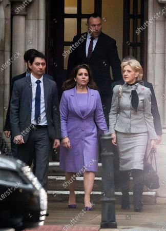 Princess Haya Bint al-Hussein of Jordan (C) and her lawyer, Baroness Fiona Shackleton (R), leave the Royal Courts of Justice in London, Britain, 28 February 2020. Princess Haya, the estranged wife of the ruler of Dubai, Sheikh Mohammed bin Rashid Al-Maktoum, is in court during a case about their children's welfare. Others are not identified.