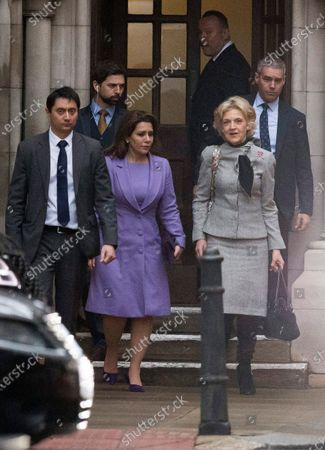 Princess Haya Bint al-Hussein of Jordan (C) and her lawyer, Baroness Fiona Shackleton (2-R), leave the Royal Courts of Justice in London, Britain, 28 February 2020. Princess Haya, the estranged wife of the ruler of Dubai, Sheikh Mohammed bin Rashid Al-Maktoum, is in court during a case about their children's welfare. Others are not identified.