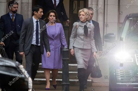 Stock Picture of Princess Haya Bint al-Hussein of Jordan (C) and her lawyer, Baroness Fiona Shackleton (2-R), leave the Royal Courts of Justice in London, Britain, 28 February 2020. Princess Haya, the estranged wife of the ruler of Dubai, Sheikh Mohammed bin Rashid Al-Maktoum, is in court during a case about their children's welfare. Others are not identified.