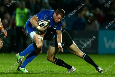 Leinster vs Glasgow Warriors. Sean Cronin of Leinster with Glasgow's Tommy Seymour.
