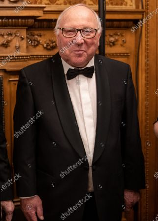 Stock Photo of Former German football star Uwe Seeler (R) poses while attending the black-tie Matthiae-Mahlzeit feast in the town hall of Hamburg, Germany, 28 February 2020. The Matthiae-Mahlzeit is considered to be one of the oldest traditional meals in the world. It was first held in 1356, and after a break of more than 230 years, the tradition was revived in 1956.