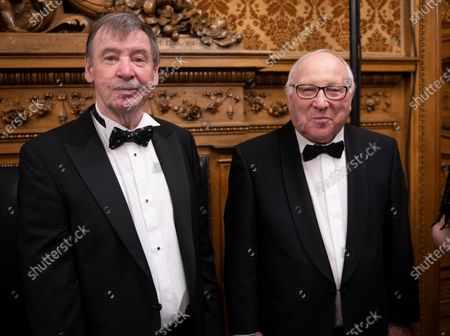 Former First Mayor of Hamburg Ortwin Runde (L) and former German football star Uwe Seeler (R) pose as they attend the black-tie Matthiae-Mahlzeit feast in the town hall of Hamburg, Germany, 28 February 2020. The Matthiae-Mahlzeit is considered to be one of the oldest traditional meals in the world. It was first held in 1356, and after a break of more than 230 years, the tradition was revived in 1956.