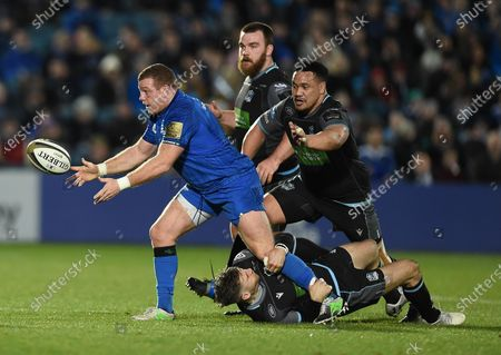 Leinster vs Glasgow Warriors. Leinster's Sean Cronin with Tommy Seymour and Aki Seiuli of Glasgow