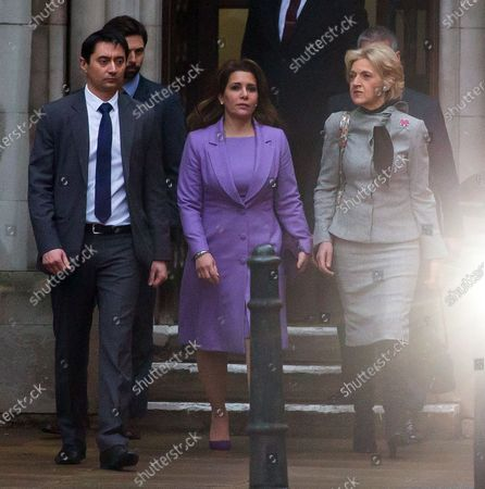Stock Photo of Princess Haya of Jordan bint Hussein leaving the Court of Appeal with Baroness Fiona Shackleton following today's hearing.
