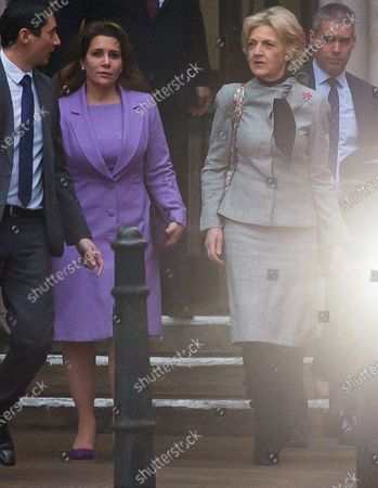 Stock Picture of Princess Haya of Jordan bint Hussein leaving the Court of Appeal with Baroness Fiona Shackleton following today's hearing.