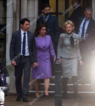 Stock Image of Princess Haya of Jordan bint Hussein leaving the Court of Appeal with Baroness Fiona Shackleton following today's hearing.