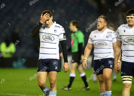 Ben Thomas - Cardiff centre leaves th efield dejected at the end of the match following a 14-6 defeat to th ehome side.