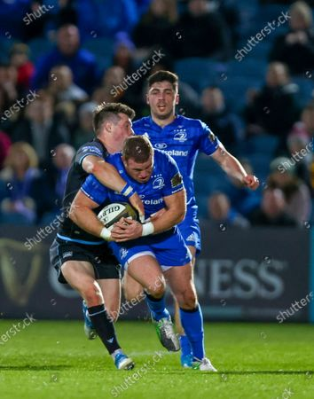 Stock Picture of 28th February 2020; RDS Arena, Dublin, Leinster, Ireland; Guinness Pro 14 Rugby, Leinster versus Glasgow; Sean Cronin (Leinster) drives in to a tackle from George Horne (Glasgow Warriors)