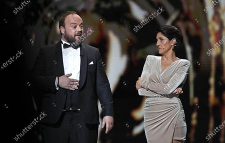 Stock Picture of Alban Ivanov (L) and French actress Florence Foresti attend the 45th annual Cesar awards ceremony held at the Salle Pleyel concert hall in Paris, France, 28 February 2020.