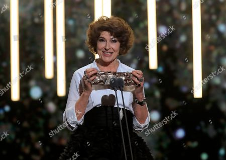 """Fanny Ardant holds the Cesar award for best supporting actress for the role of Marianne in """"La Belle Epoque"""" on in Paris. The Cesar awards ceremony for France is the equivalent of the Oscars"""