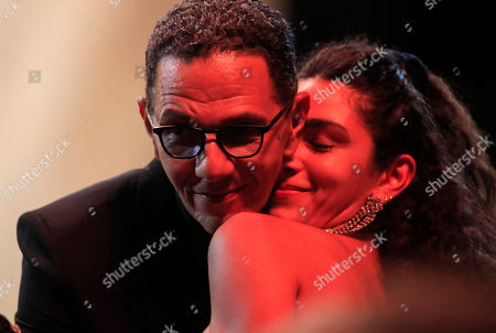 "Roschdy Zem is congratulated after winning the Cesar for best actor for his role in ""Roubaix, a light"" on in Paris. The Cesar awards ceremony for France is the equivalent of the Oscars"
