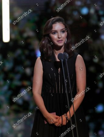 Nina Meurisse makes her speech after being awarded with the best female newcomer Cesar award in Paris. The Cesar awards ceremony for France is the equivalent of the Oscars
