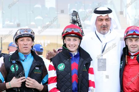 , Riad, HRH Prince Bandar bin Khalid al Fasal with Jockey Sibylle Vogt, Frankie Dettori (left) and Olivier Peslier (right), during Jockey Challenge, King Abdulaziz racecourse, Saudi Arabia.