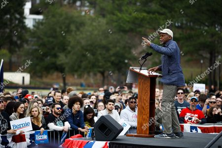 Actor Danny Glover speaks ahead of Democratic presidential candidate Sen. Bernie Sanders, I-Vt., at a campaign event, in Columbia, S.C