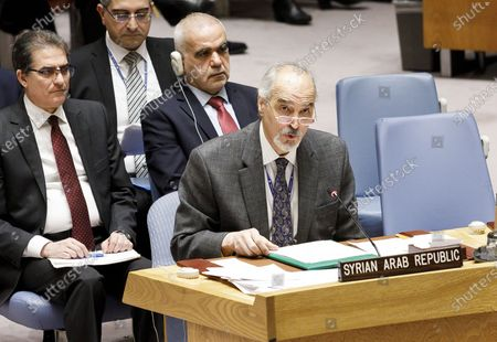 Bashar Jaafari (R), Syria's permanent representative to the United Nations, addresses  an emergency United Nations Security Council meeting called in response to an airstrike on Thursday in northwest Syria that killed 33 Turkish troops, at United Nations headquarters in New York, New York, USA, 28 February 2020. The airstrike, which was reportedly carried out by Russian-backed Syrian government troops, dramatically raised tensions in the region and diplomats were meeting in an effort to avoid further military conflict between NATO -backed Turkey and Russia.