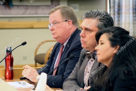 Three officials of the Oregon Health Authority testified, before a committee of the Oregon Legislature in Salem, on preparations for a possible outbreak of coronavirus in Oregon. Appearing before the House Committee on Health Care were, from left, OHA Director Patrick Allen, Dean Sidelinger, state health officer and state epidemiologist, and Akiko Saito, section manager of health security, preparedness and response