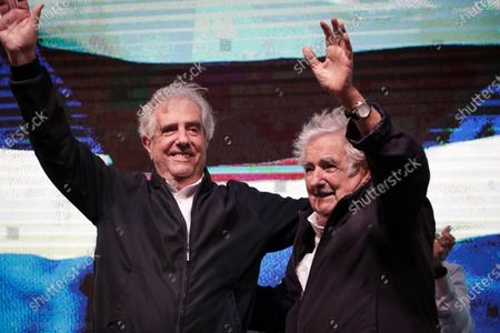 President of Uruguay, Tabare Vazquez (L), and the Former Uruguayan President Jose Mujica (R) greet supporters during a tribute event, in Montevideo, Uruguay, 28 February 2020. Vazquez, who served as Uruguay's 39th and 41st President, will be replaced by president-elect of Uruguay, Luis Lacalle Pou, on 01 March 2020.