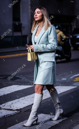 Editorial image of Street Style, Fall Winter 2020, Milan Fashion Week, Italy - 20 Feb 2020