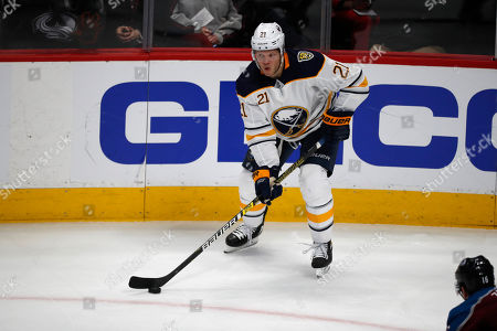R m. Buffalo Sabres right wing Kyle Okposo (21) in the third period of an NHL hockey game, in Denver. The Avalanche won 3-2