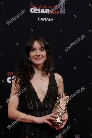"""Anais Demoustier poses after winning the Cesar for best actress for her role in """"Alice and the Mayor"""" on in Paris. The Cesar awards ceremony for France is the equivalent of the Oscars"""