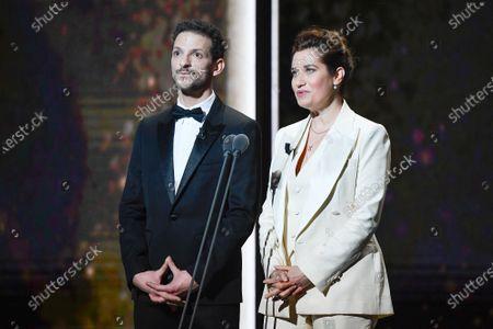 Vincent Dedienne and Emmanuelle Devos on stage during the Cesar Film Awards 2020 Ceremony At Salle Pleyel