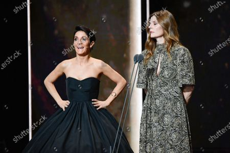 Florence Foresti and Chiara Mastroianni on stage during the Cesar Film Awards 2020 Ceremony At Salle Pleyel