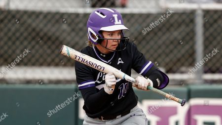 Stock Photo of Lipsombs Olivia Ward prepares to bunt during an NCAA softball game against SIU Edwardsville, in Nashville, Tenn