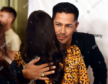 Jay Hernandez, America Ferrera. Actor Jay Hernandez embraces actress/producer America Ferrera at the 2020 Impact Awards at the Beverly Wilshire Hotel, in Beverly Hills, Calif