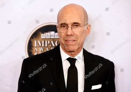 Quibi founder Jeffrey Katzenberg poses at the 2020 Impact Awards at the Beverly Wilshire Hotel, in Beverly Hills, Calif
