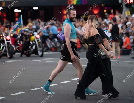 US media personality Jonathan Van Ness (C) participates in the 42nd annual Gay and Lesbian Mardi Gras parade in Sydney, Australia, 29 February 2020.
