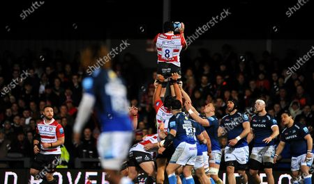 Stock Picture of Ben Morgan of Gloucester Rugby wins the line out