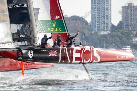 Great Britain SailGP Team helmed by Ben Ainslie celebrate as they cross the finish line to take victory in Sydney. Race Day 2. Sydney SailGP, Event 1 Season 2 in Sydney Harbour, Sydney, Australia. 29 February 2020. Photo: Craig Greenhill for SailGP. Handout image supplied by SailGP
