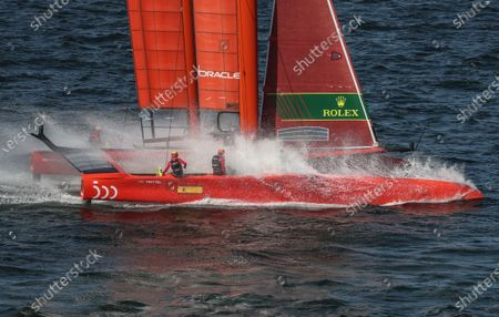 Spain SailGP Team helmed by Phil Robertson in action during racing on day 1. Sydney SailGP, Event 1 Season 2 in Sydney Harbour, Sydney, Australia. 28 February 2020. Photo: David Gray for SailGP. Handout image supplied by SailGP