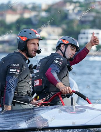 Ben Ainslie, helmsman, and Iain Jensen, wing trimmer, celebrate winning the final match race and SailGP Sydney on Race Day 2. Sydney SailGP, Event 1 Season 2 in Sydney Harbour, Sydney, Australia. 29 February 2020. Photo: Bob Martin for SailGP. Handout image supplied by SailGP
