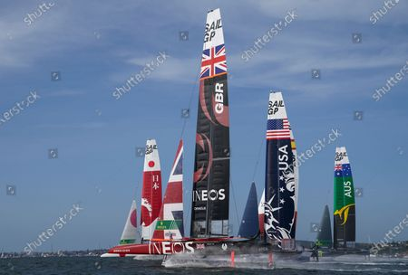 Great Britain SailGP Team helmed by Ben Ainslie overtakes the fleet in the first race on Race Day 2. Sydney SailGP, Event 1 Season 2 in Sydney Harbour, Sydney, Australia. 29 February 2020. Photo: Bob Martin for SailGP. Handout image supplied by SailGP