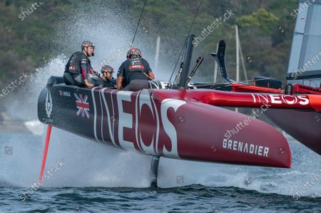Great Britain SailGP Team helmed by Ben Ainslie in action in the final match race on Race Day 2. Sydney SailGP, Event 1 Season 2 in Sydney Harbour, Sydney, Australia. 29 February 2020. Photo: Bob Martin for SailGP. Handout image supplied by SailGP