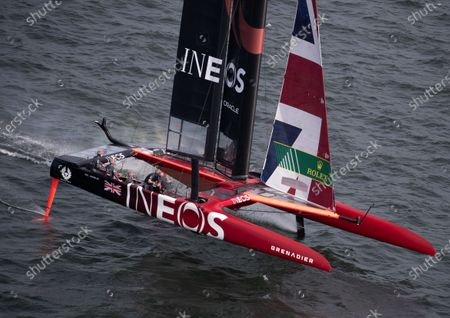 Great Britain SailGP Team helmed by Ben Ainslie in action on Race Day 2. Sydney SailGP, Event 1 Season 2 in Sydney Harbour, Sydney, Australia. 29 February 2020. Photo: David Gray for SailGP. Handout image supplied by SailGP