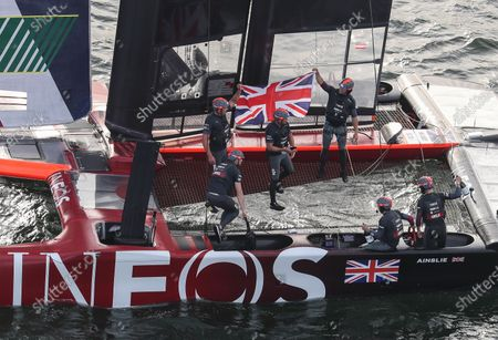 Great Britain SailGP Team helmed by Ben Ainslie celebrating with the team boat after winning the final race on Race Day 2. Sydney SailGP, Event 1 Season 2 in Sydney Harbour, Sydney, Australia. 29 February 2020. Photo: David Gray for SailGP. Handout image supplied by SailGP